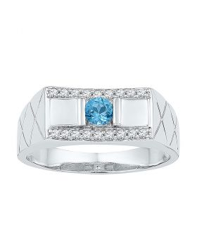10KT WHITE GOLD ROUND LAB-CREATED BLUE TOPAZ DIAMOND BAND RING 1/2 CTTW