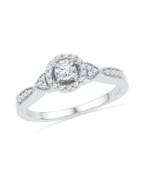 10kt White Gold Womens Round Diamond Solitaire Halo Bridal Wedding Engagement Ring 1/5 Cttw