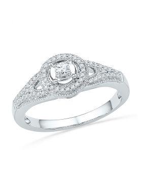 10kt White Gold Womens Round Diamond Encircled Solitaire Milgrain Promise Bridal Ring 1/4 Cttw