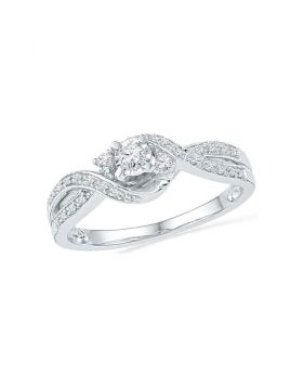 10kt White Gold Womens Round Diamond 3-stone Twist Bridal Wedding Engagement Ring 1/6 Cttw