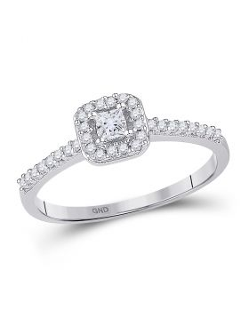 10kt White Gold Womens Princess Diamond Solitaire Square Halo Bridal Wedding Engagement Ring 1/4 Cttw