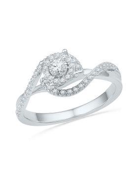 10kt White Gold Womens Round Diamond Solitaire Swirl Bridal Wedding Engagement Ring 1/5 Cttw