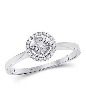 10kt White Gold Womens Round Diamond Solitaire Halo Bridal Wedding Engagement Ring 1/12 Cttw