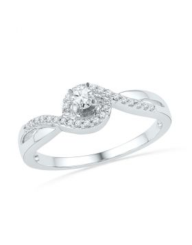 10kt White Gold Womens Round Diamond Solitaire Swirl Promise Bridal Ring 1/5 Cttw