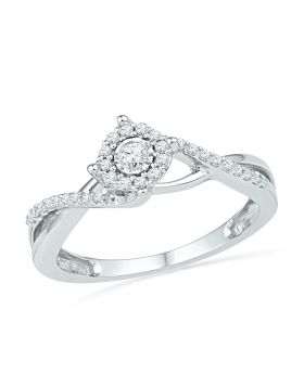 10kt White Gold Womens Round Diamond Solitaire Twist Promise Bridal Ring 1/5 Cttw