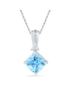 10kt White Gold Womens Princess Lab-Created Blue Topaz Solitaire Pendant 2-3/8 Cttw