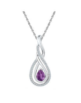 10kt White Gold Womens Pear Lab-Created Amethyst Diamond Teardrop Pendant 1/2 Cttw