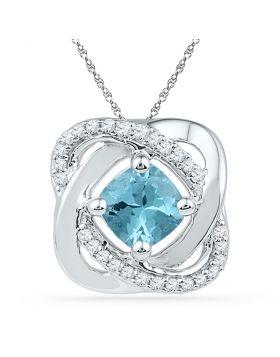 10kt White Gold Womens Princess Lab-Created Blue Topaz Solitaire Diamond Pendant 3/4 Cttw