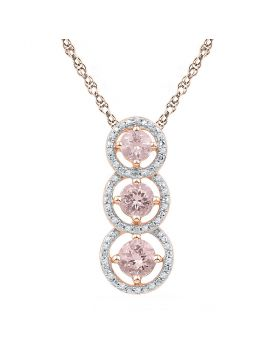 10kt Rose Gold Womens Round Lab-Created Morganite Triple Fashion Pendant 1-1/3 Cttw
