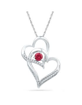 10kt White Gold Womens Round Lab-Created Ruby Heart Pendant 1/3 Cttw