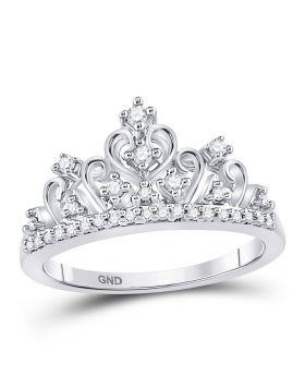 10k White Gold Round Diamond Womens Womens Crown Tiara Cocktail Band 1/5 Cttw