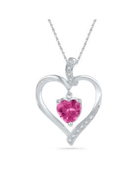 10kt White Gold Womens Round Lab-Created Pink Sapphire Heart Pendant 1-3/4 Cttw