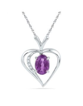 10kt White Gold Womens Oval Lab-Created Amethyst Heart Pendant 3/4 Cttw