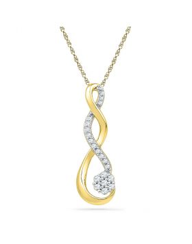 10kt Yellow Gold Womens Round Diamond Infinity Cluster Pendant 1/6 Cttw