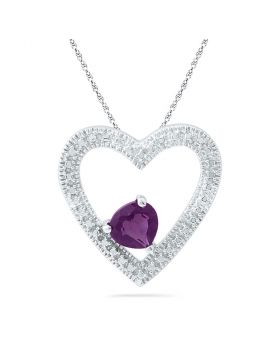 10kt White Gold Womens Round Lab-Created Amethyst Heart Pendant 5/8 Cttw
