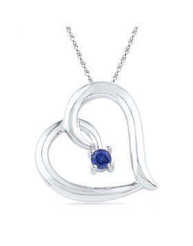 10kt White Gold Womens Round Lab-Created Blue Sapphire Heart Pendant 1/8 Cttw