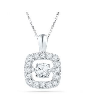 10kt White Gold Womens Round Diamond Square Moving Twinkle Pendant 1/4 Cttw