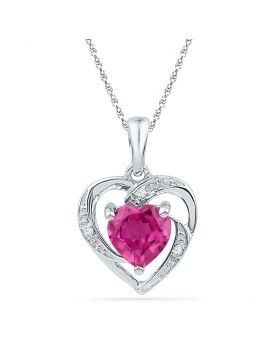 10kt White Gold Womens Round Lab-Created Ruby Heart Pendant 1.00 Cttw
