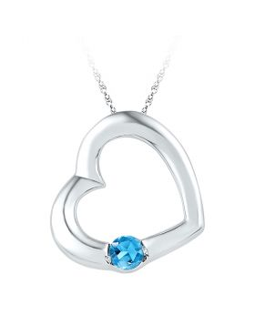 10kt White Gold Womens Round Lab-Created Blue Topaz Heart Pendant 1/6 Cttw