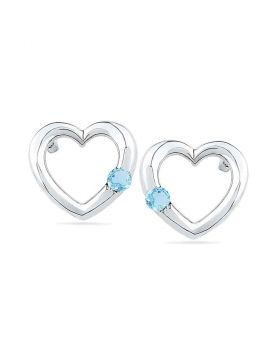 10kt White Gold Womens Round Lab-Created Blue Topaz Heart Earrings 1/8 Cttw