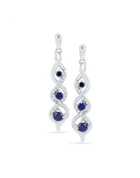 10kt White Gold Womens Round Lab-Created Blue Sapphire Cascade Dangle Earrings 1/2 Cttw