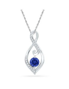 10kt White Gold Womens Round Lab-Created Blue Sapphire Solitaire Diamond Pendant 1/10 Cttw
