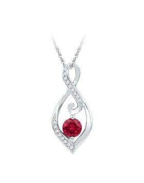 10kt White Gold Womens Round Lab-Created Ruby Solitaire Diamond Teardrop Pendant 1/10 Cttw