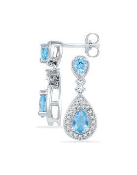 10kt White Gold Womens Pear Lab-Created Blue Topaz Dangle Diamond Earrings 1-1/2 Cttw