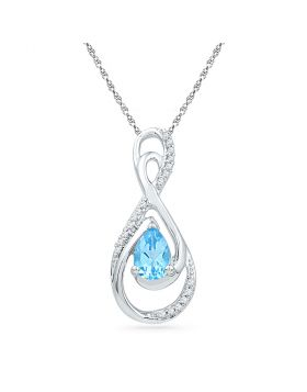 10kt White Gold Womens Oval Lab-Created Blue Topaz Solitaire Diamond Teardrop Pendant 3/4 Cttw