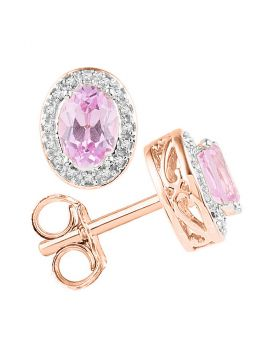 10kt Rose Gold Womens Oval Morganite Stud Diamond Accent Earrings 1-1/3 Cttw
