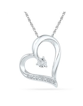 10kt White Gold Womens Round Diamond Heart Pendant .01 Cttw