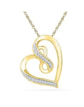 10kt Yellow Gold Womens Round Diamond Heart Infinity Pendant 1/10 Cttw