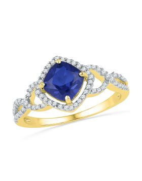 10kt Yellow Gold Womens Princess Lab-Created Blue Sapphire Solitaire Diamond Accent Ring 1.00 Cttw
