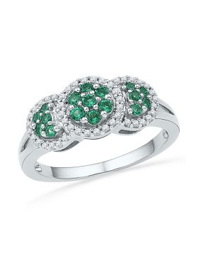 10kt White Gold Womens Round Lab-Created Emerald Diamond Cluster Ring 3/8 Cttw