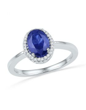 Sterling Silver Womens Oval Lab-Created Blue Sapphire Solitaire Diamond Ring 1-1/4 Cttw