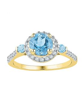 10kt Yellow Gold Womens Round Lab-Created Blue Topaz Solitaire Diamond Ring 1/5 Cttw