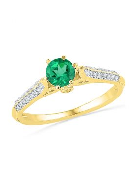 10kt Yellow Gold Womens Round Lab-Created Emerald Solitaire Diamond Ring 5/8 Cttw