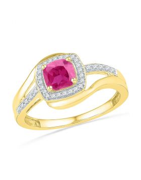 10kt Yellow Gold Womens Princess Lab-Created Pink Sapphire Solitaire Ring 1.00 Cttw