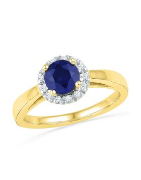 10kt Yellow Gold Womens Round Lab-Created Blue Sapphire Solitaire Ring 1.00 Cttw