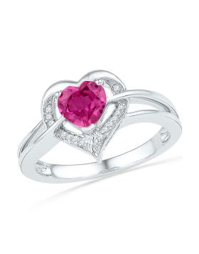 Sterling Silver Womens Round Lab-Created Pink Sapphire Heart Diamond Ring 1.00 Cttw