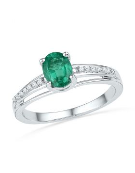 10kt White Gold Womens Oval Lab-Created Emerald Solitaire Ring 1/12 Cttw