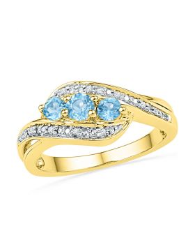10kt Yellow Gold Womens Round Lab-Created Blue Topaz 3-stone Diamond Ring 1/2 Cttw
