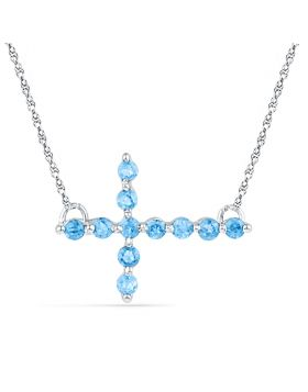 Sterling Silver Womens Round Lab-Created Blue Topaz Cross Religious Pendant Necklace 1/5 Cttw