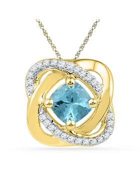 10kt Yellow Gold Womens Princess Lab-Created Blue Topaz Solitaire Diamond Pendant 3/4 Cttw