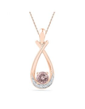 10kt Rose Gold Womens Round Lab-Created Morganite Solitaire Diamond Teardrop Pendant 3/8 Cttw