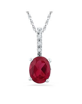Sterling Silver Womens Oval Lab-Created Ruby Solitaire Pendant 1.00 Cttw