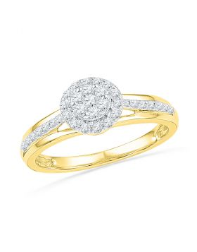 10kt Yellow Gold Womens Round Diamond Flower Cluster Ring 1/3 Cttw