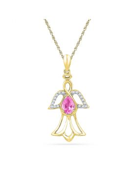10kt Yellow Gold Womens Pear Lab-Created Pink Sapphire Angel Pendant 5/8 Cttw
