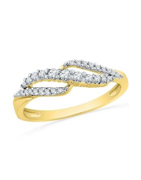 10kt Yellow Gold Womens Round Diamond Crossover Band Ring 1/4 Cttw