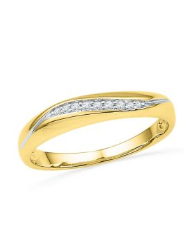10kt Yellow Gold Womens Round Diamond Band Ring 1/20 Cttw